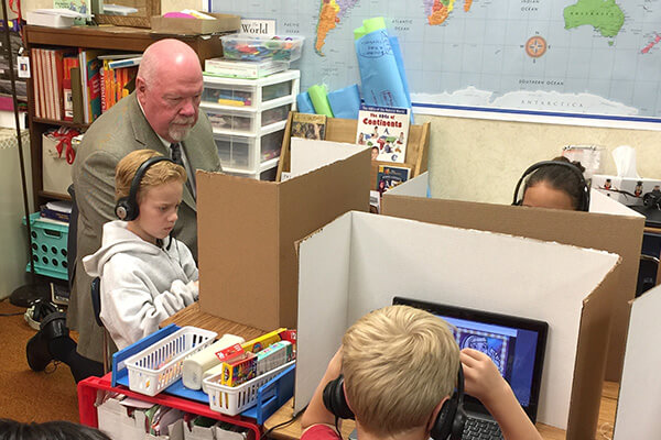 Senator Stephenson learns with student