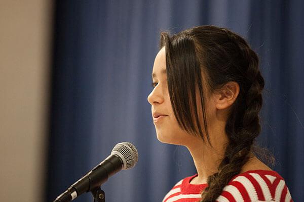 girl student gives speech