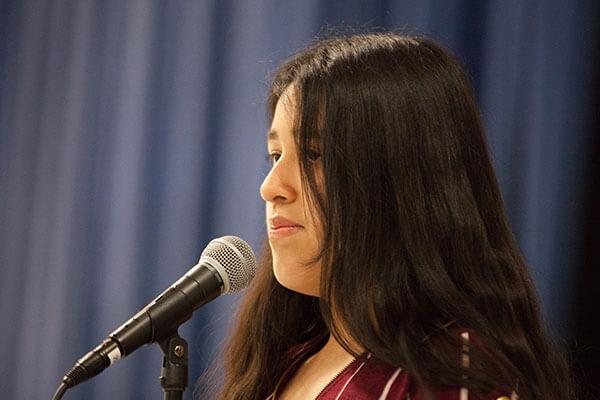 girl gives speech