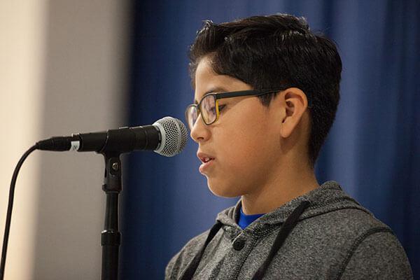 boy gives speech
