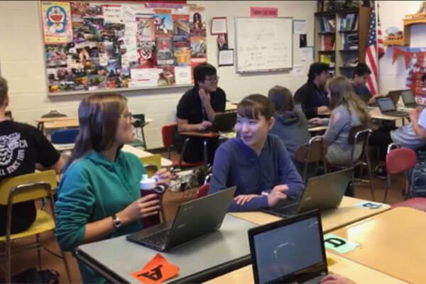 students use chromebooks